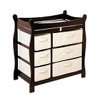Badger Basket Baby Changing Table with six baskets espresso