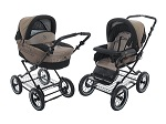 Roan Rocco Classic Pram Stroller 2 in 1 with Bassinet and Seat Unit, Coffee