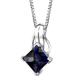"Sterling Silver Princess Checkerboard Cut Blue Sapphire Pendant with 18"" Silver Necklace"